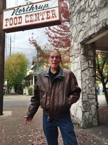 Jerry Vermillion in front of his sleeping spot at the old Northrup Food Center. Photo by Thacher Schmid.